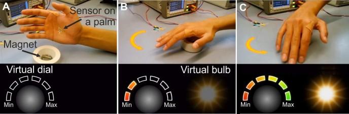 손바닥에 부착한 3㎛(마이크로미터·1㎛는 100만분의 1m) 두께의 자기장 센서는 자기장 변화를 감지해 컴퓨터로 신호를 보내 전구 밝기를 조절한다. 자기장 변화를 미세하게 감지할 수 있어 전구를 켜고 끌 수 있는 것은 물론 밝기도 조절할 수 있다. - 데니스 마카로프 제공